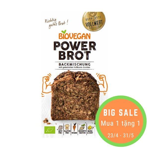Bột làm bánh mỳ nướng hữu cơ Power Brot (ngũ cốc nảy mầm 24%) 350g - Biovegan