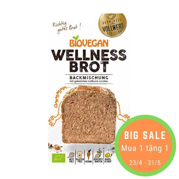 Bột làm bánh mỳ nướng hữu cơ Wellness Brot (ngũ cốc nảy mầm 10%) 320g - Biovegan