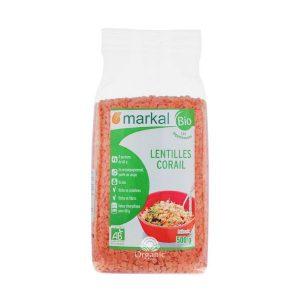 Đậu lăng đỏ cam san hô hữu cơ Markal 500g 1